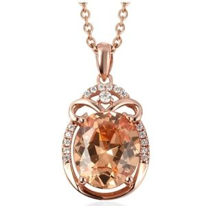 Champagne Diamond 14K Rose Gold Sterling Silver